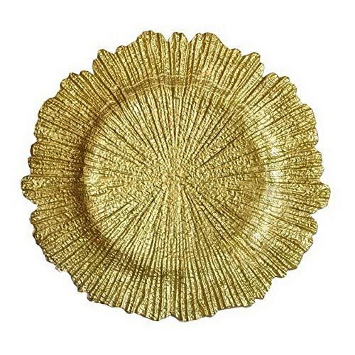 Mikash 13 Round Charger Plates Plastic Gold Silver Dinner Charger- Bulk! | Model WDDNGDCRTN - 24405 | 12 pcs