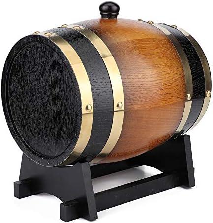 JULYKAI Weinfass, 3L große Kapazität Retro Farbe Eiche Holz Rotweinfass Eimer Fass Aufbewahrungsbehälter für Home Whiskyfässer