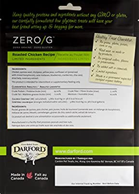 Darford - Zero/G Roasted Chicken Recipe Dog Treats, 12Oz Pouch