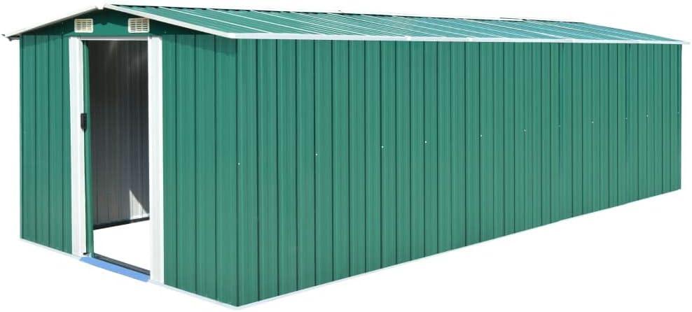 Tidyard Caseta de Jardín Exterior con 4 Ventilación para Almacenamiento de Herramientas de A Prueba de Polvo y Resistente a la Intemperie de Acero Galvanizado Verde 257x597x178 cm: Amazon.es: Hogar