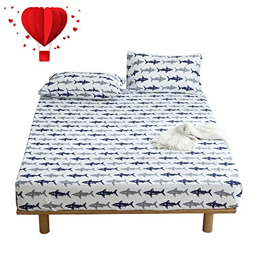 (BuLuTu Navy Blue/Grey Shark Print Deep Pocket Fitted Bed Sheet Twin Cotton White-Breathable, Durable and Comfortable,Premium Single Bottom Fitted Sheet ONLY,No Pillowcases)