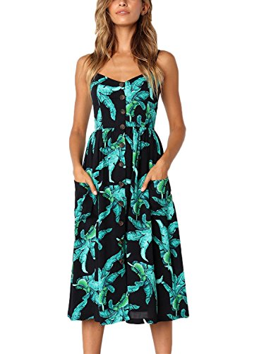 Salimdy Womens Floral Spaghetti Strap Summer Bohemian Front Button Midi Dress with Pockets (L, 0822black) (Beautiful Button Front)