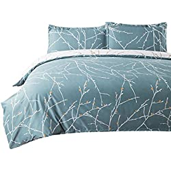 "Bedsure Duvet Cover Set with Zipper Closure-Teal/White Printed Branch Pattern Reversible,Full/Queen (90""x90"")-3 Piece (1 Duvet Cover + 2 Pillow Shams)-110 GSM Ultra Soft Hypoallergenic Microfiber"