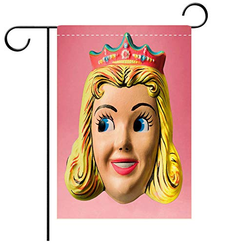 BEICICI Double Sided Premium Garden Flag Princess Wearing Crown Halloween Mask Decorative Deck, Patio, Porch, Balcony Backyard, Garden or Lawn