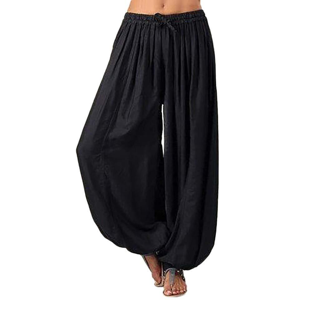YiYLunneo Haremshose f/ür Damen Jogginghose Yoga Pilates Hosen Freizeithosen Weiche Lange Hose Einfarbige Elegante Pluderhose