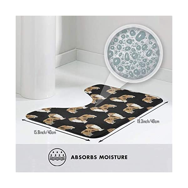 NiYoung Non Slip Contour Bath Mats for Toilet/Absorbent Water/Dry Fast/Machine-Washable/Perfect for Bathroom,Tub and Shower(15.8x19.3 Inches,Rough Collie Dog) 3