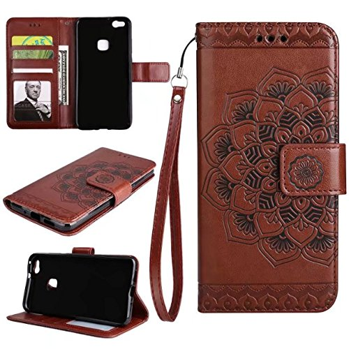 YAJIE-Carcasa Funda Para Huawei P10 Lite en relieve medio diseño de flores [correa para la muñeca] Premium PU cuero cartera bolsa Flip Stand caso ( Color : Brown ) Brown