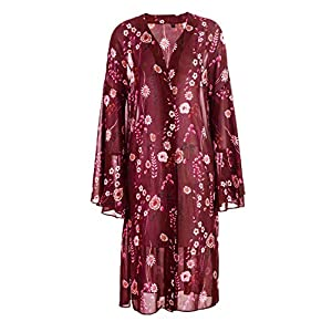 LUOUSE Women's Long Open Front Floral Print Chiffon Sheer Loose Kimono Flare Sleeve Cardigan Capes Beach Cover Up Dress…