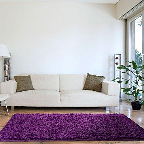 Lavish Home High Pile Carpet Shag Rug, 30 by 60-Inch, Purple (Purple Carpet Dark)
