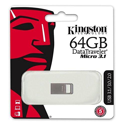 Kingston DataTraveler Micro 3.1 DTMC3/64GB Llave USB 3.1 Ultra Pequeña, Ligera, sin Tapa, Metal