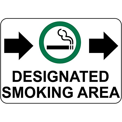 Designated Smoking Area W Right Arrow Aluminum Metal Sign 24 in x 18 in Custom Warning & Saftey Sign Pre-drilled Holes for Easy mounting