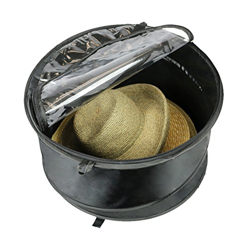 The Elixir Deco Premium Hat Pop up Storage Bag, Large Hat Storage Travel Bag Round Hat Box Container, Keeps Out Dust and Dirt ()