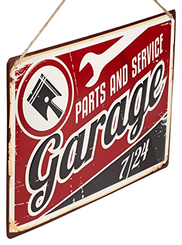 """Monarch Housewares Old Tin Metal Sign - """"Parts and Service Garage"""" - Automotive, Distressed, Retro, Reproduction"""