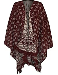 WearAll Women's Print Tassel Poncho Shawl Knitted Wrap Cape