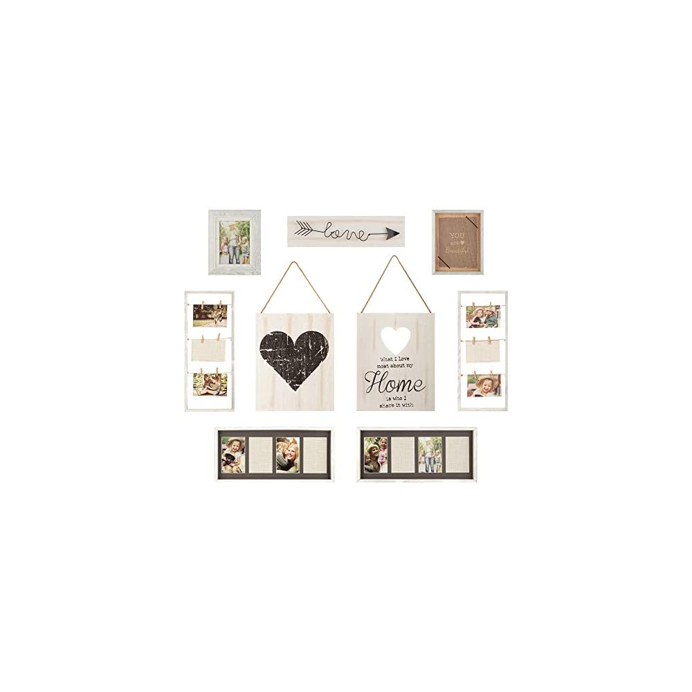 """Gallery Perfect 17FW1938 Rustic Collage Gallery Wall Kit Picture Frame Set, Multi Size - 4"""" x 6"""", 5"""" x 7"""", White, 9 Piece"""