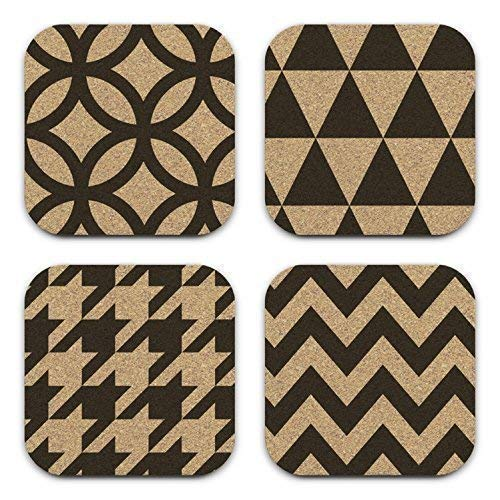 Amazon Com Modern Geometric Patterns Mixed Design Cork Coaster Set Of 4 Coworker Gift Handmade