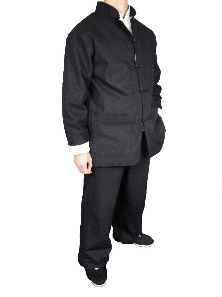 Premium Linen Black Kung Fu Martial Arts Taichi Uniform Suit M by Interact China