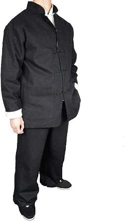Fino Lino Negro Kung Fu Artes Marciales Tai Chi Traje Uniforme XS-XL o Hecho Por Sastre #111