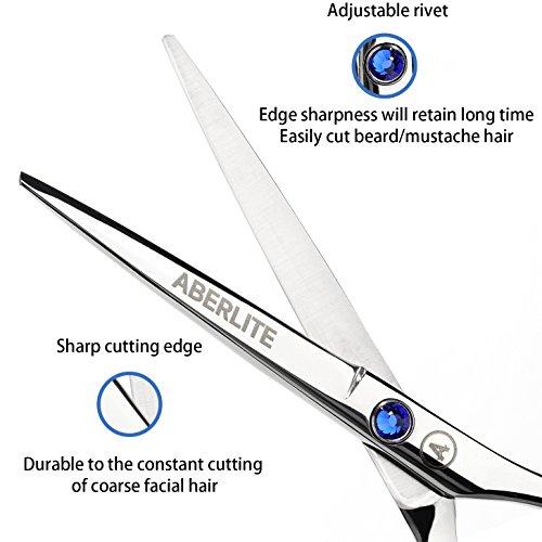 Beard Scissors Kit for Men (5 pcs) | 5'' Professional Beard/Hair Scissors (Japanese Stainless Steel), Travel Size Precision Beard/Mustache Scissor, Pocket Wood Comb, Master Barber Comb, and PU Case Set by Aberlite (Image #3)