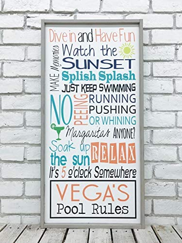 CELYCASY Pool-Schild, Pool-Regelschild, personalisierbares Pool-Schild, Pool-Dekoration, Pool-Schild, Pool-Regeln, Outdoor-Schild