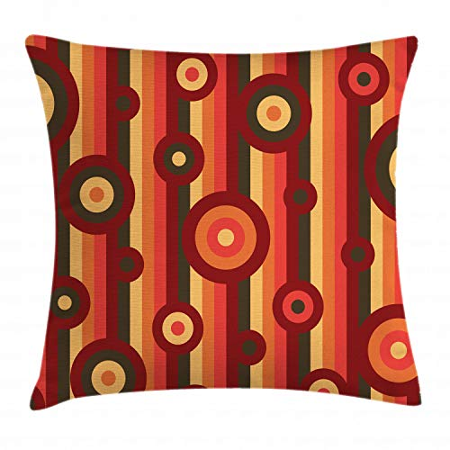 Ambesonne Retro Throw Pillow Cushion Cover, Colorful Abstract Funky Pattern Circles and Dots on Striped Background Geometric Art, Decorative Square Accent Pillow Case, 16