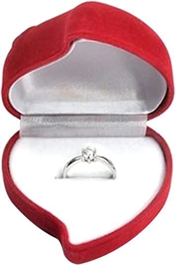 Lots 24X Heart Shaped Red Velvet Ring Jewelry Box Wedding Proposal Display Case