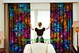HANDICRAFT-PALACE Indian Tie Dye Cycle of The Ages Cotton Curtain Valances Window Hanging Door Decor Room Divider 2 PC Curtains For Sale