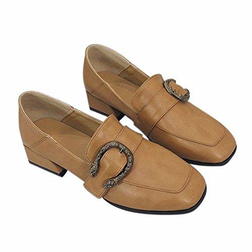 Gruesos YUCH con kaqi Cómodos Una Sola Casual con Zapatos Calzado Hebilla 1w1q48rBz