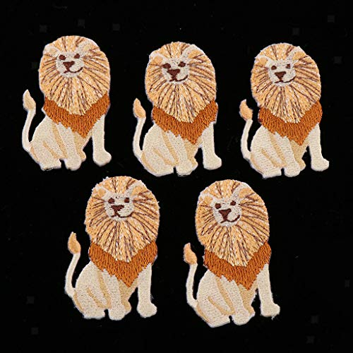 Pack of 5 Iron-on Embroidery Patches Sew on Animal Badge DIY Clothes Sticker | Color - Lion