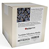 2.72 kg or 6 lbs Ceramic Triangular 1/4 x 3/8 for Deburring and Edge-Rounding Media for Steel, Stainless Steel, and Hard Metals - Liquid Finishing Compound and Clean, Dry and Store Bag Included