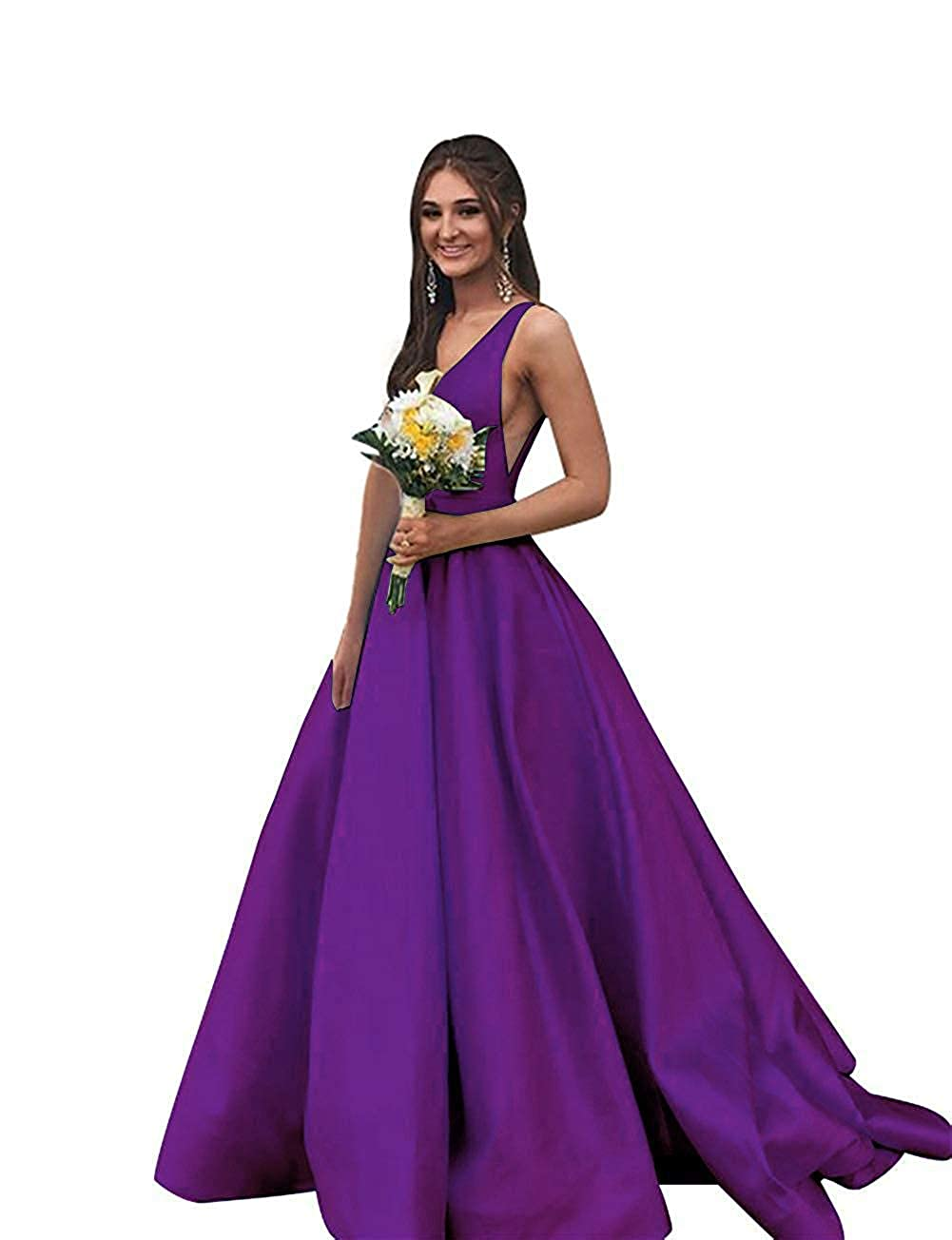 Purple liangjinsmkj Prom Dresses Long Satin Aline V Neck Evening Ball Gowns for Women with Pockets