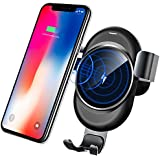 Lamyik Wireless Car Charger,Bracket Phone Holder Gravity Auto-Clamping Design and Anti-Skid Base Compatible with Samsung Galaxy S8/S7/Note 8, iPhone X/iPhone 8 Plus/iPhone 8 and QI-Enabled Device