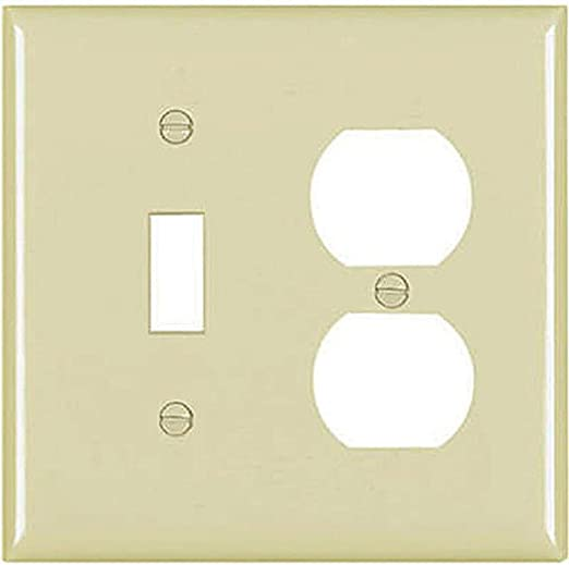 Ivory Textured TayMac WTI-TD Standard Metallic Wallplate with One Toggle One Duplex Two Gang