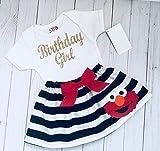 Elmo Birthday outfit, Elmo black and white striped skirt and Sparkle gold Birthday girl tshirt