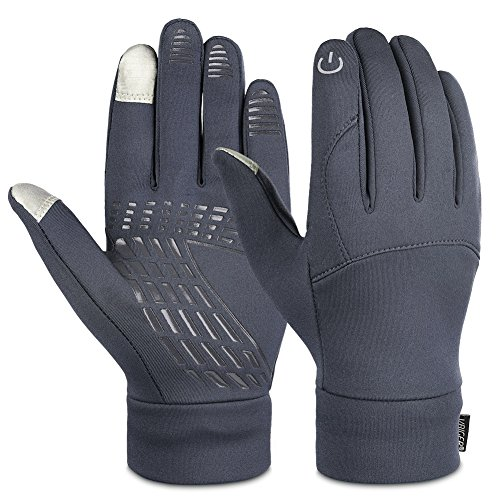 Vbiger Unisex Winter Warm Gloves Touch Screen Gloves Outdoors Sport Gloves Running Cycling Gloves for Men Women (L, Grey)