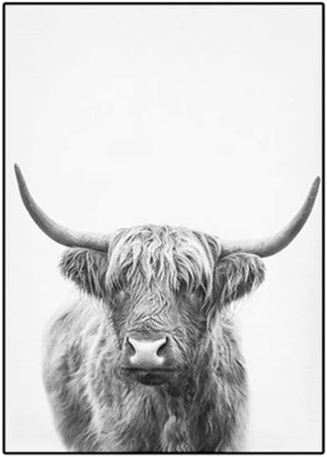 Woodland Bison Wall Art Highland Cow Canvas Paintings Cattle Pictures for Living Room Decor Black White Posters and Prints 30x40cm x2 No Frame 11.8x15.7 inch