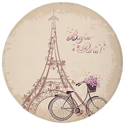 Round Rug Mat Carpet,Paris,Bonjour Paris Eiffel Tower and Vintage Bicycle with Flowers Retro Soft Color Print,Cream Pink,Flannel Microfiber Non-slip Soft Absorbent,for Kitchen Floor Bathroom -