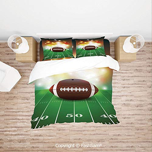 (FashSam Duvet Cover 4 Pcs Comforter Cover Set American Football Ball with Golden Properties on Grass Turf Field Team Art Graphic for Boys Grils Kids(Single))