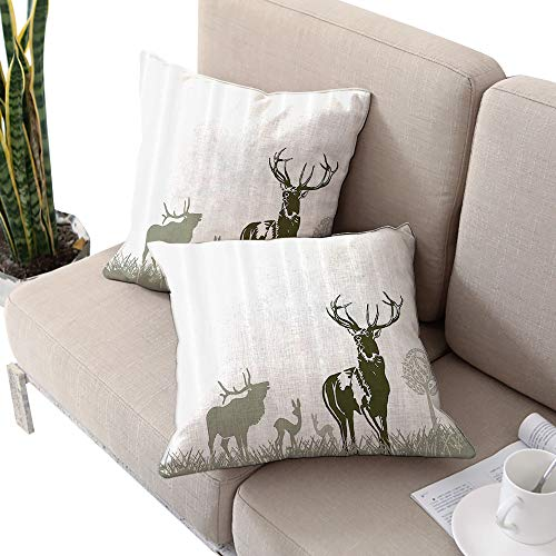 Josepsh Antlers Decor Collection Square Chaise Lounge Cushion Cover,Wild Animal Deerfield Meadow Grassland Tree Morning Time Park Landscape Image Patten Olive White W18 xL18 2pcs2 ()