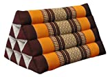 Thai triangular cushion, brown/orange, relaxation, beach, kapok, made in Thailand. (81100)