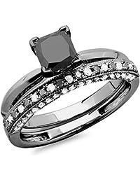 1.50 Carat (ctw) Black Rhodium Plated 14K White Gold Black & White Diamond Ring Set 1 1/2 CT