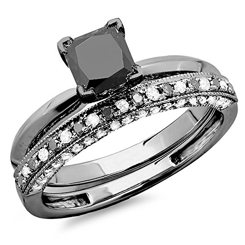 1.50 Carat (ctw) Black Rhodium Plated 14K White Gold Black & White Diamond Ring Set 1 1/2 CT