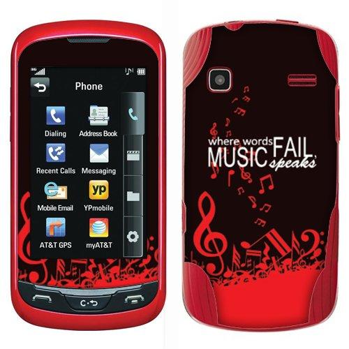 Fincibo (TM) LG Xpression C395 Rumor Reflex LN272 S LN272S Accessories Skin Vinyl Decal Sticker - Brown Red Where Words Fail Music Speaks