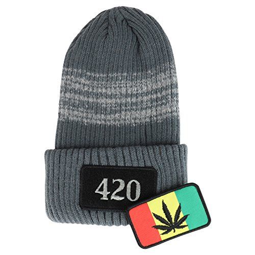 Trendy-Apparel-Shop-Rasta-Marijuana-Embroidered-Hook-and-Loop-Patch-Long-Cuff-Beanie