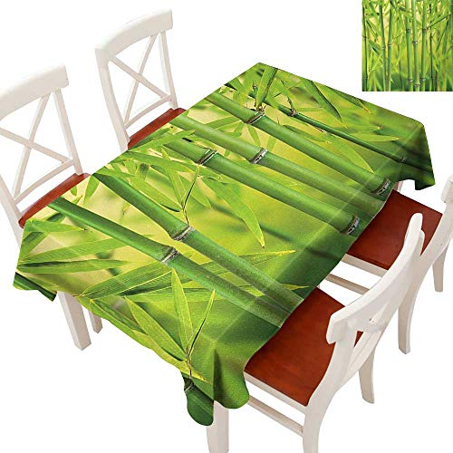 Elegant Waterproof Spillproof Polyester Fabric Table Cover Tablecloths for Rectangle/Oblong/Oval Tables Close up of Bamboo Sprouts Stems Nature in Tropical Rain Forest Wildlife Asian Feng Shui Green ()