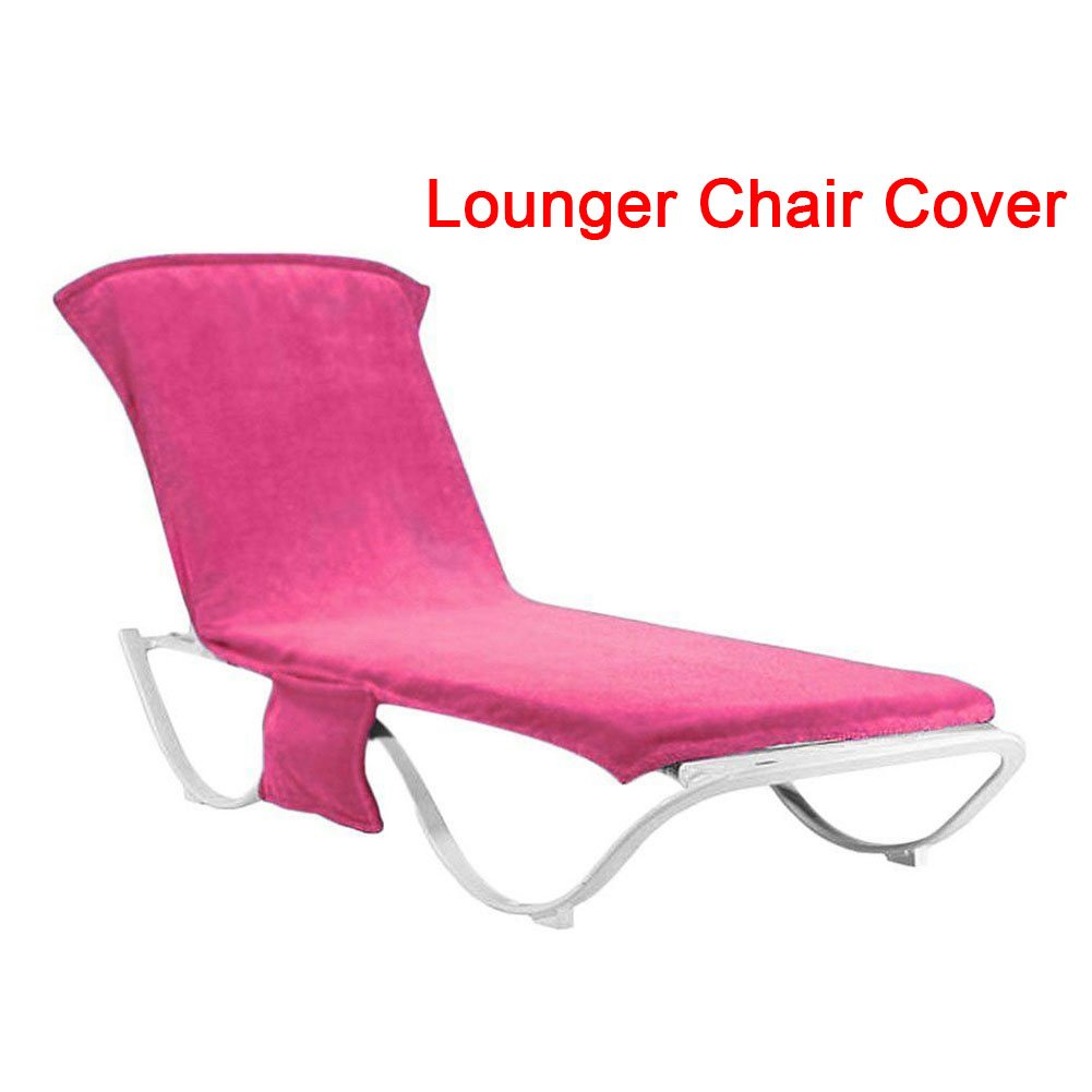 GETMORE7 Beach Chair Cover ,Sun Leisure Lounger Mate Beach Towel Covers Carry With Pockets Bag For Holiday Garden Lounge for Swimming Pool, Sun Lounger, Hotel, Vacation Pink