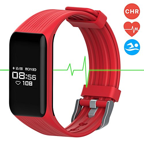 Fitness Tracker Smart Band Continuous Heart Rate Monitor, MGCOOL B3 Activity Tracker Bracelet Sleep Monitor Step Counter Stopwatch Distance Calorie, Smart Watch Reminder, Christmas Gift (Band3-Red)