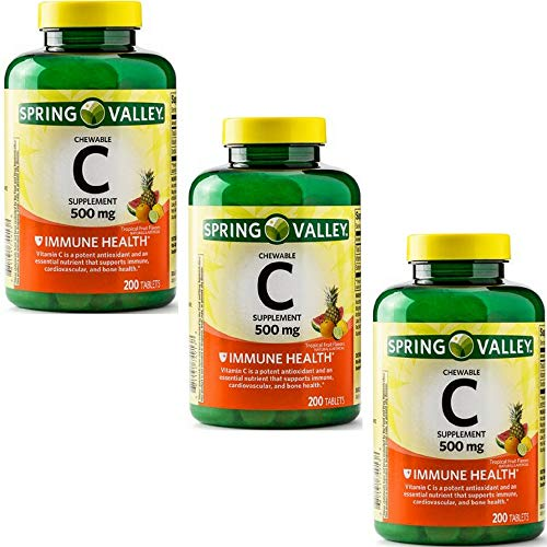 Spring Valley - Vitamin C Multiple Fruit Flavors 500 mg, 200 Chewable Tablets (3 Pack)