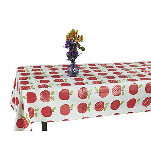 """Ottomanson Vinyl Cute Apple Design X Indoor & Outdoor Tablecloth Non-Woven Backing, 55"""" x 70"""", Multicolor"""