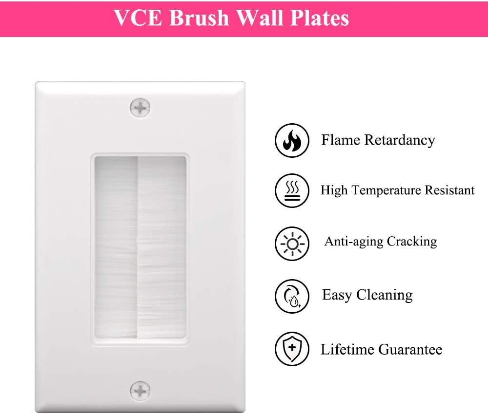 VCE Single Brush Wall Plate with Single Gang Low Voltage Mounting Bracket Cable Pass Through Insert for Wires, Single Gang Cable Access Strap, Wall Socket for HDTV, Home Theater Systems 3 Pack: Electronics